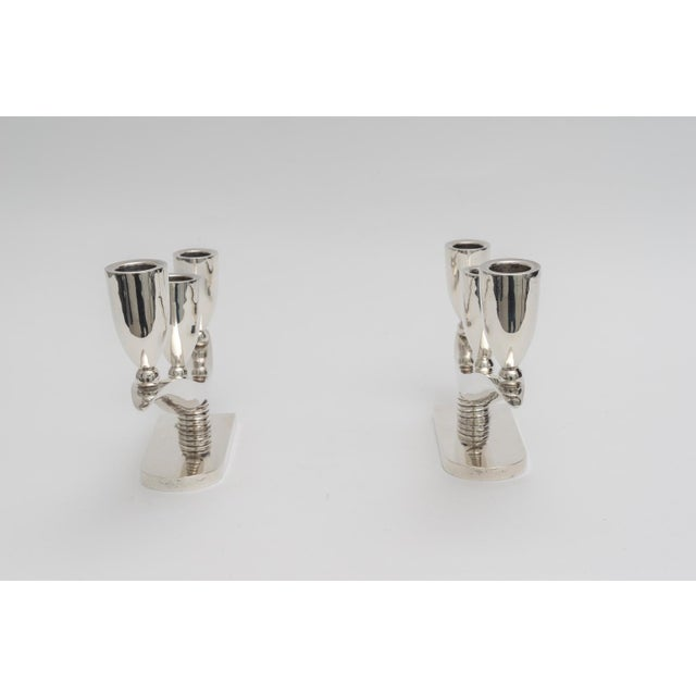 Early 20th Century Art Deco Moderne Sterling Silver Candlesticks For Sale - Image 5 of 12