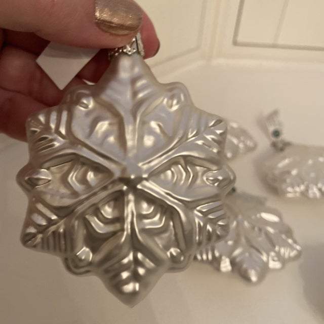 Late 20th Century Inge Glass Snowflake Ornaments - Set of 6 For Sale - Image 5 of 13