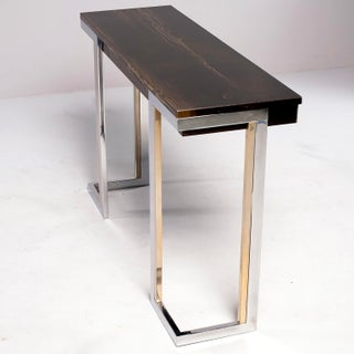 French Moderne Faux Marble Console With Chrome Legs Preview