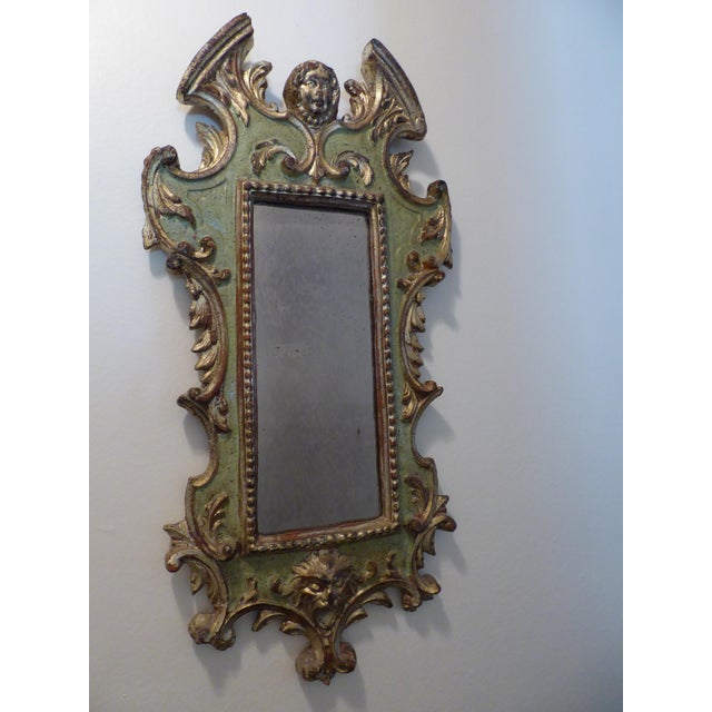 Vintage Rococo Green & Gold Gilt Carved Wood Mirror For Sale - Image 5 of 11