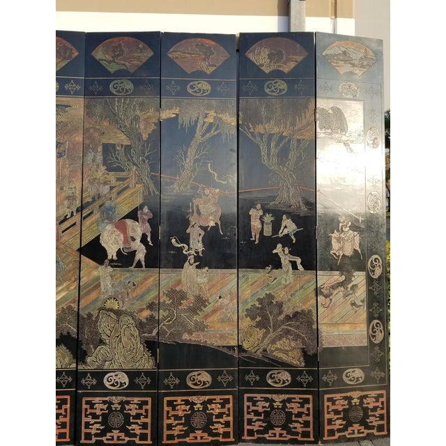Black 20th Century Asian Chinese Chinoiserie Black Coromandel 12 Panel Screen Oriental Asian For Sale - Image 8 of 12