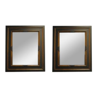 Black and Antique Gold Painted Framed Mirrors With Aged Glass, a Pair For Sale