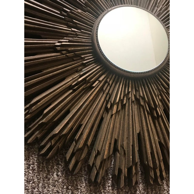 1960s 1960s Art Deco Gold Resin Sunburst Mirror For Sale - Image 5 of 13