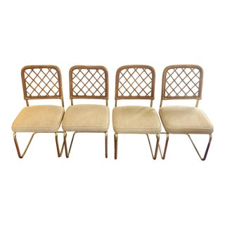 Mid Century Modern BoHo Chic Rattan & Brass Cantilevered Dining Chairs - Set of 4 For Sale