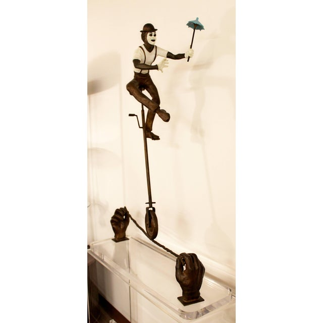 1990s Contemporary Jerry Soble Balancing Man Bronze Mime Sculpture, Signed, 1991 For Sale - Image 5 of 11