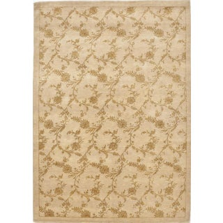 "Hand-Knotted Floral Rug - 5'7""x 8' For Sale"