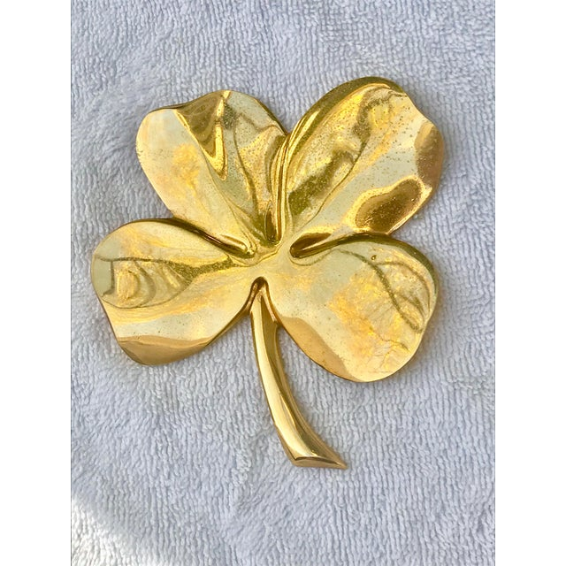 Lucky Gold Plated Four Leaf Clover For Sale In New Orleans - Image 6 of 6