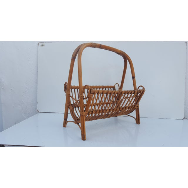 Mid-Century Modern Italian Original Franco Albini Rattan and Bamboo Magazine Rack For Sale - Image 3 of 10