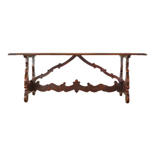 18th Century Italian Baroque Walnut Trestle Dining Table For Sale