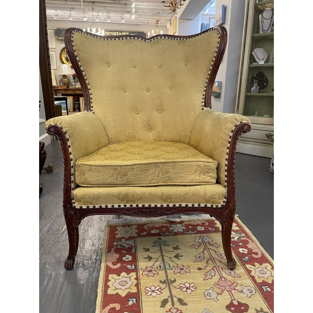 French 1950s Vintage French Wingback Mahogany Chair For Sale - Image 3 of 7
