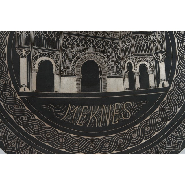 Islamic Moroccan Hanging Black Metal Tray From Meknes For Sale - Image 3 of 9