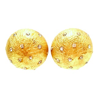 20th Century Christian Dior Gold Plate & Swarovski Crystal Earrings For Sale