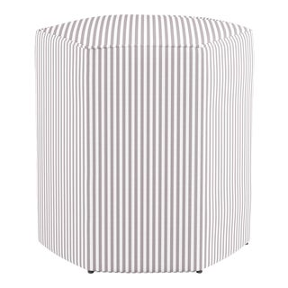 Hexagonal Ottoman in Silver Ticking Stripe For Sale