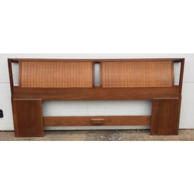 Drexel Mid-Century walnut & cane king size headboard. Condition-excellent vintage condition with minor signs of wear as...
