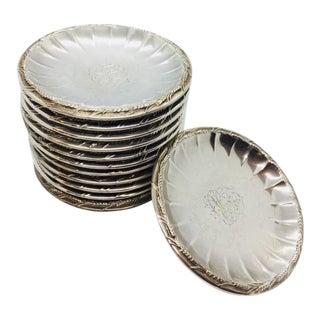 Late 19th Century Gorham Sterling Butter Pats Coasters- Set of 12 For Sale