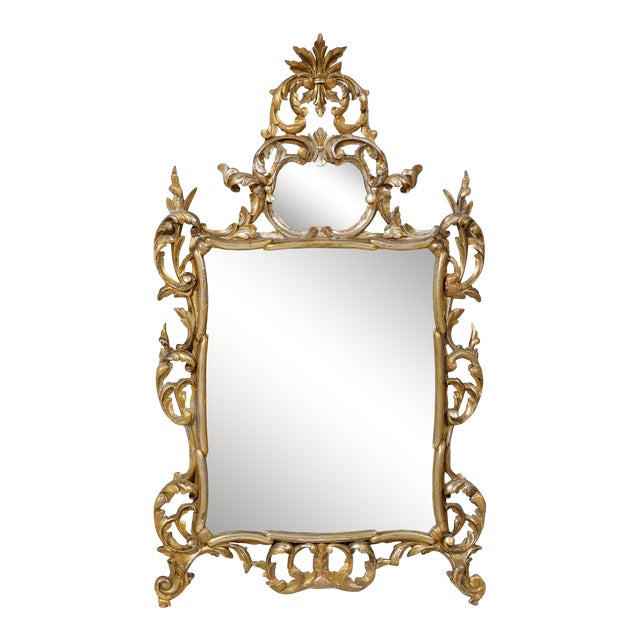 Early 20th Century Italian Gold and Silver Gilt Mirror For Sale