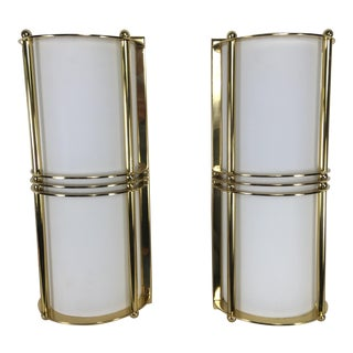Modern Brass Wall Sconces – a Pair For Sale