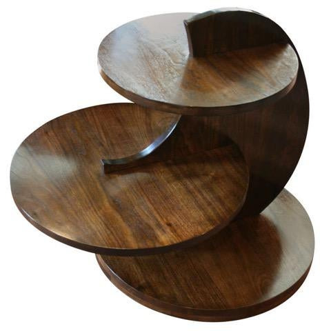 Avantgarden Art Deco Walnut Tiered Circles Table For Sale - Image 4 of 4