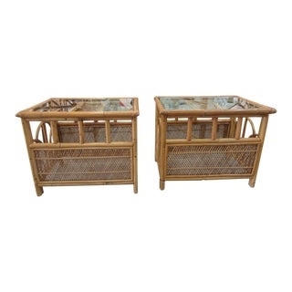 Island Style Bamboo Side Tables - a Pair For Sale