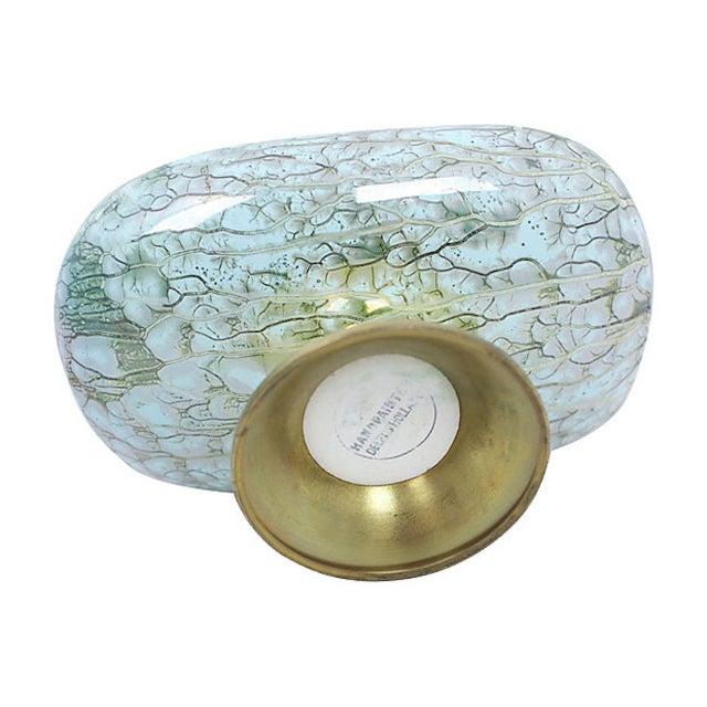 Metal Delft Porcelain Pedestal Bowl For Sale - Image 7 of 8