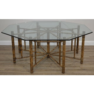 McGuire Large Octagonal Glass Top Bamboo Base Dining Table Preview