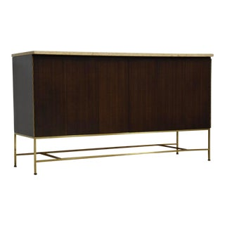 Paul McCobb for Calvin Mahogany, Brass, Travertine Credenza