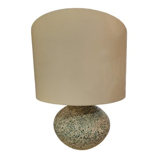 Mosaic Chip Teal Blue & Green Lamp W/ Shade For Sale