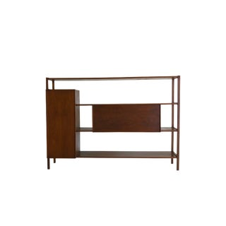 Mid Century Modern Peek-A-Boo Shelf and Pull Down Bar For Sale