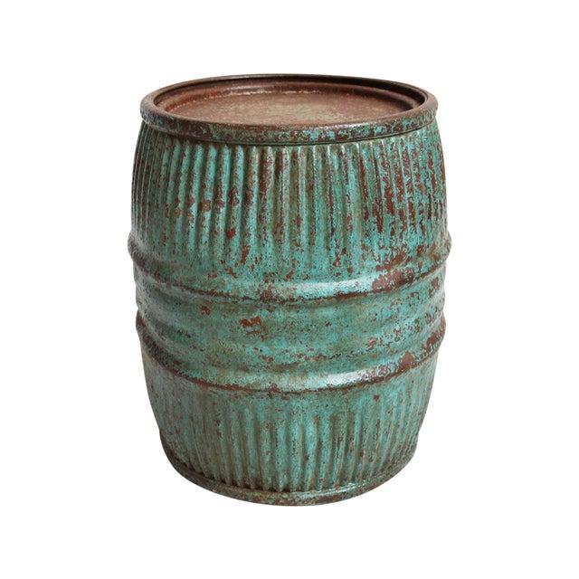 Vintage Iron Barrel Side Table - Image 1 of 3