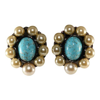 Lawrence Vrba Faux Pearl and Turquoise Cabochons Earrings For Sale