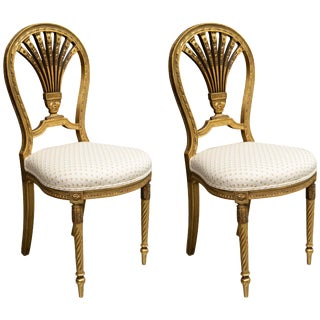Late 19th Century Louis XV Style Giltwood Side Chairs - a Pair For Sale
