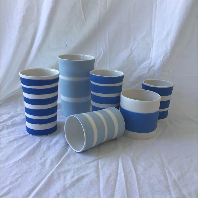 Contemporary Ceramic Striped Cylindrical Vessels - Group of 6 For Sale - Image 11 of 11
