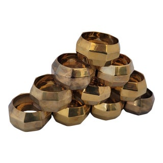 Vintage Late 20th Century Brass Hexagonal Napkin Rings - Set of 10 For Sale