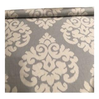 Slate Blue & Cream Ikat Screen Printed Fabric