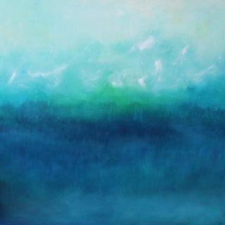 Modern Blue Horizon Landscape Oil Painting