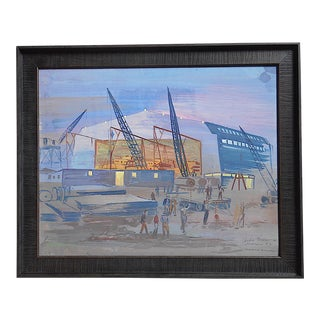 Original Vintage Mid 20th C. Modernist Gouache on Board by Andre Boratko-Industrial Art-Signed/Dated/Titled For Sale
