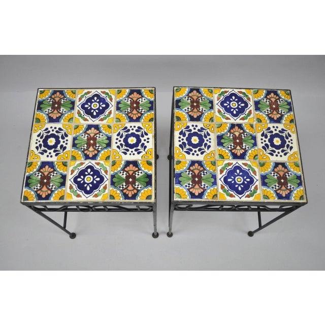 California Style 9 Tile Yellow Blue Green Wrought Iron Side Tables - a Pair - Image 2 of 11