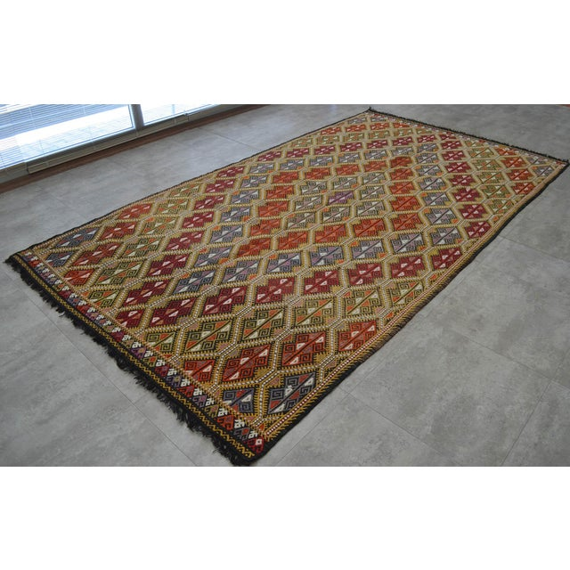Vintage Turkish Kilim Rug Hand Woven Braided Jajim Rug - 66″ X 116″ For Sale - Image 4 of 10