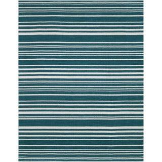 Elana Striped Teal Flat-Weave Rug 8'x10' For Sale