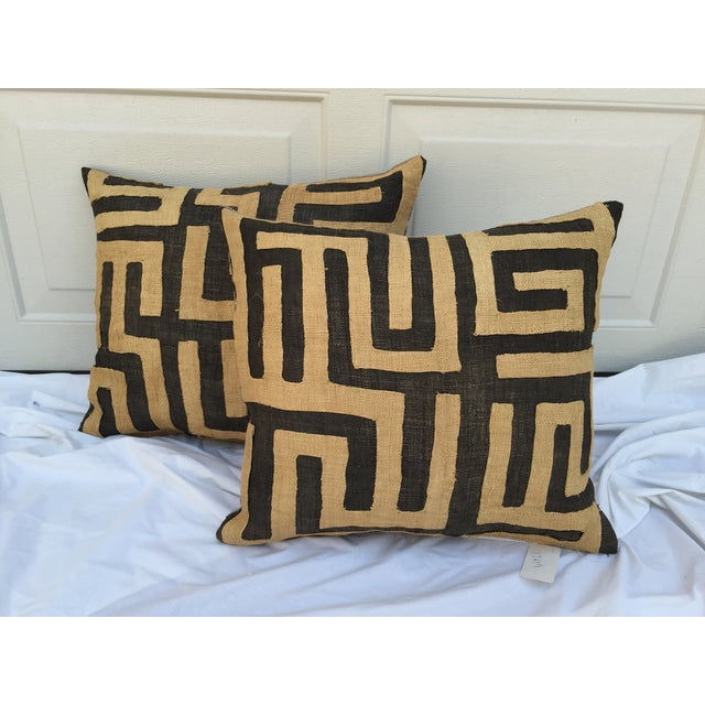 Vintage African Kuba Maze Pillows - A Pair - Image 2 of 8