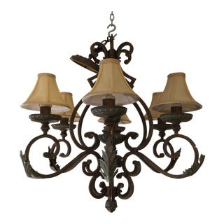 Italian Style Six-Light Iron Chandelier With Fabric Shades For Sale
