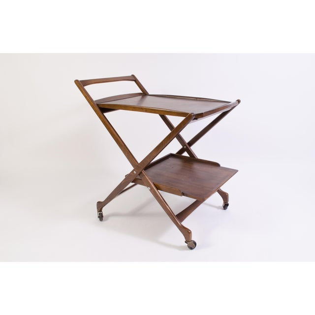 Danish Folding Walnut Bar Cart With Serving Tray - Image 3 of 11