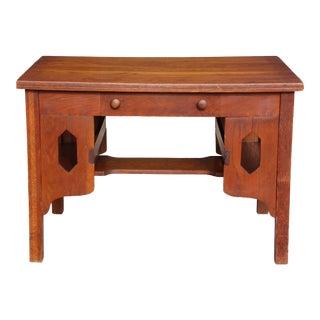 Antique Mission Oak Arts & Crafts Desk Library Table Craftsman Bookshelves For Sale