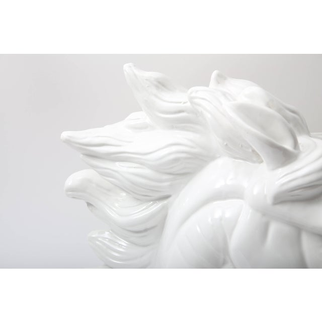 Ceramic Large Scale White Horse Head Sculpture For Sale - Image 7 of 10