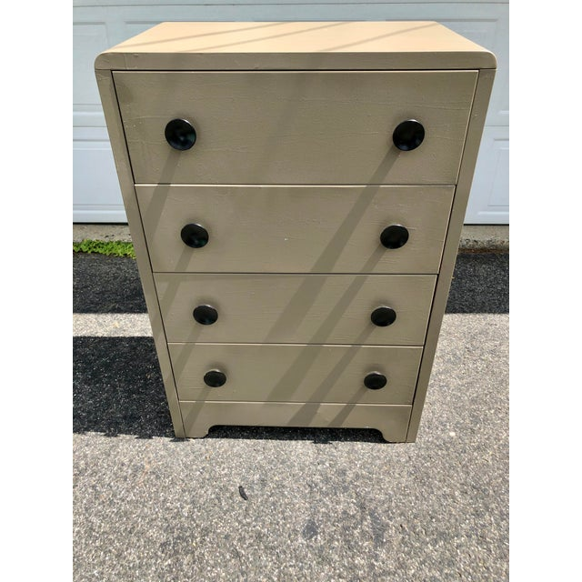 Tall Chest of Drawers by Joseph Turk Manufacturing Co. 1930's. This has been painted a taupe color with black drawers...