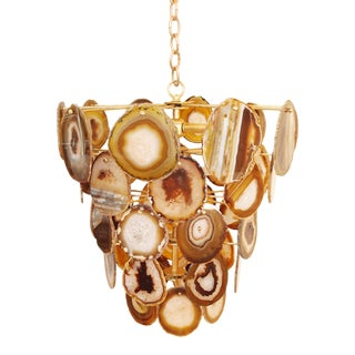 Amber Agate Bebe Natural Chandelier By Marjorie Skouras, Tiered, Gold Finish