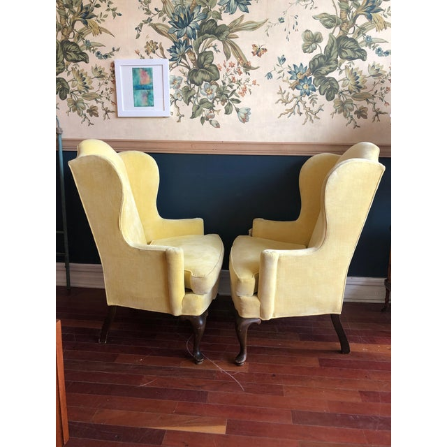 Vintage Drexel Yellow Wingback Chairs- Pair For Sale - Image 9 of 13