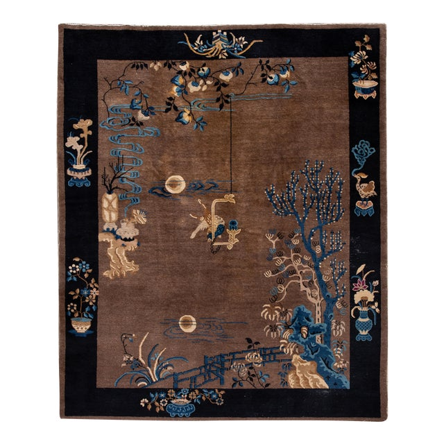 Early 20th Century Antique Art Deco Chinese Piking Wool Rug For Sale