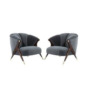 1950s Mid-Century Modern Karpen Granite Velvet Lounge Chairs - a Pair