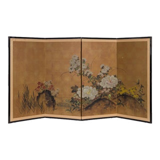 Early 20th Century Japanese Painted Byobu Screen For Sale